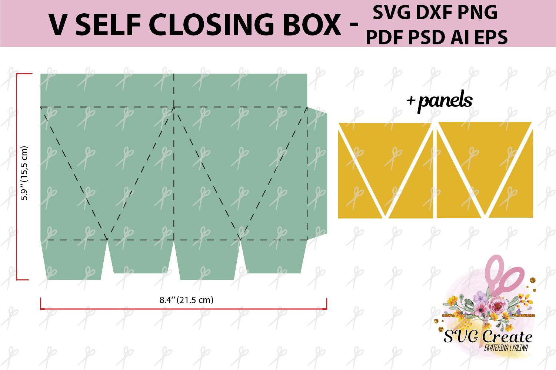 Self closing box, self-closing box, pdf gift box template example image 2