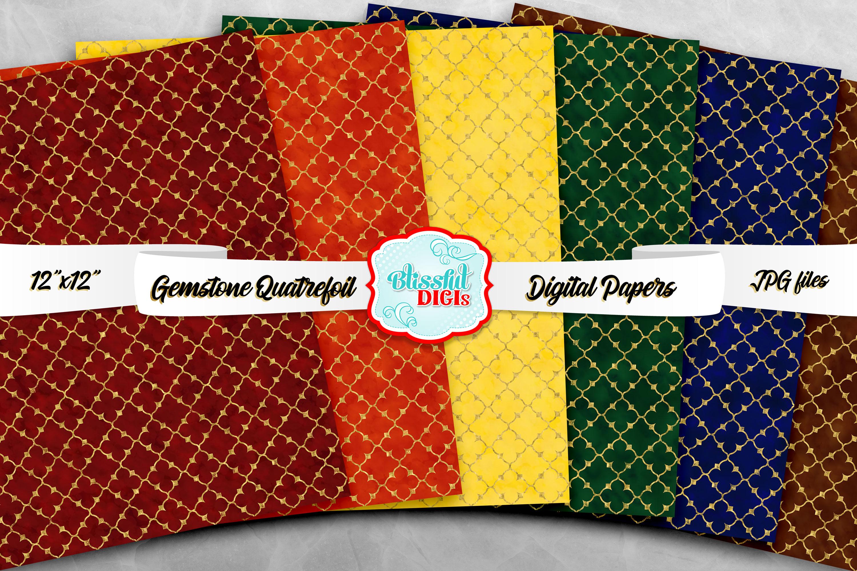 Digital Papers Bundle - Gemstone Quatrefoil - JPG example image 2