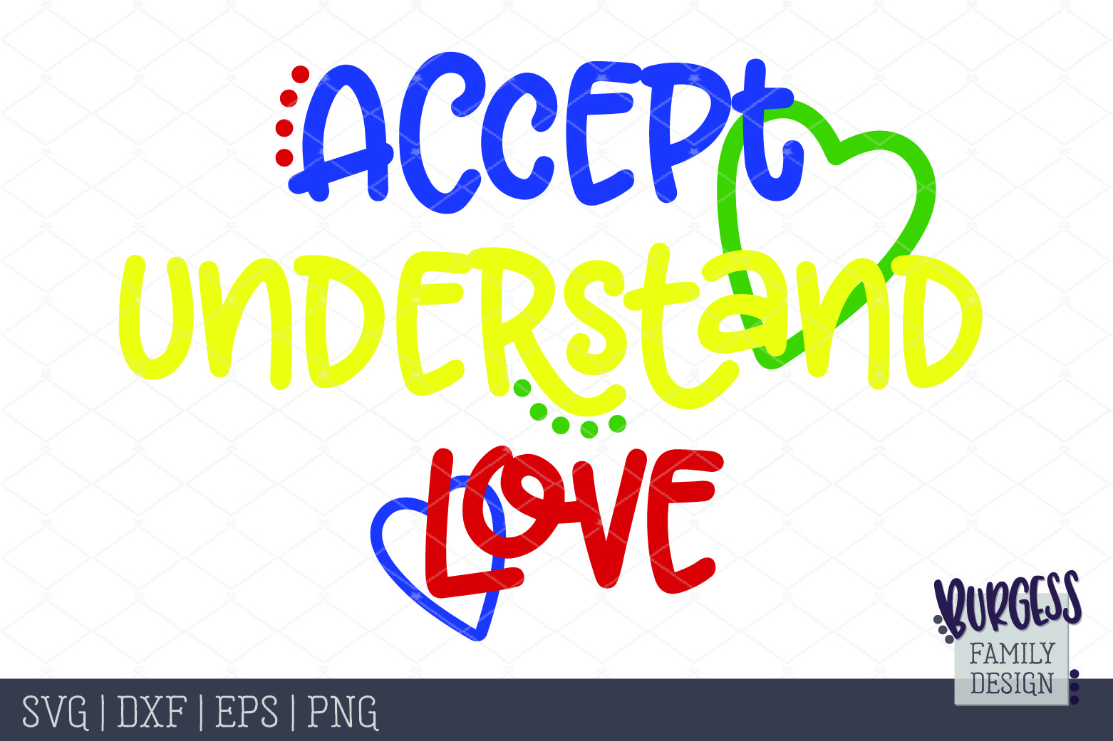Accept, understand, love Autism awareness | SVG DXF EPS PNG example image 2