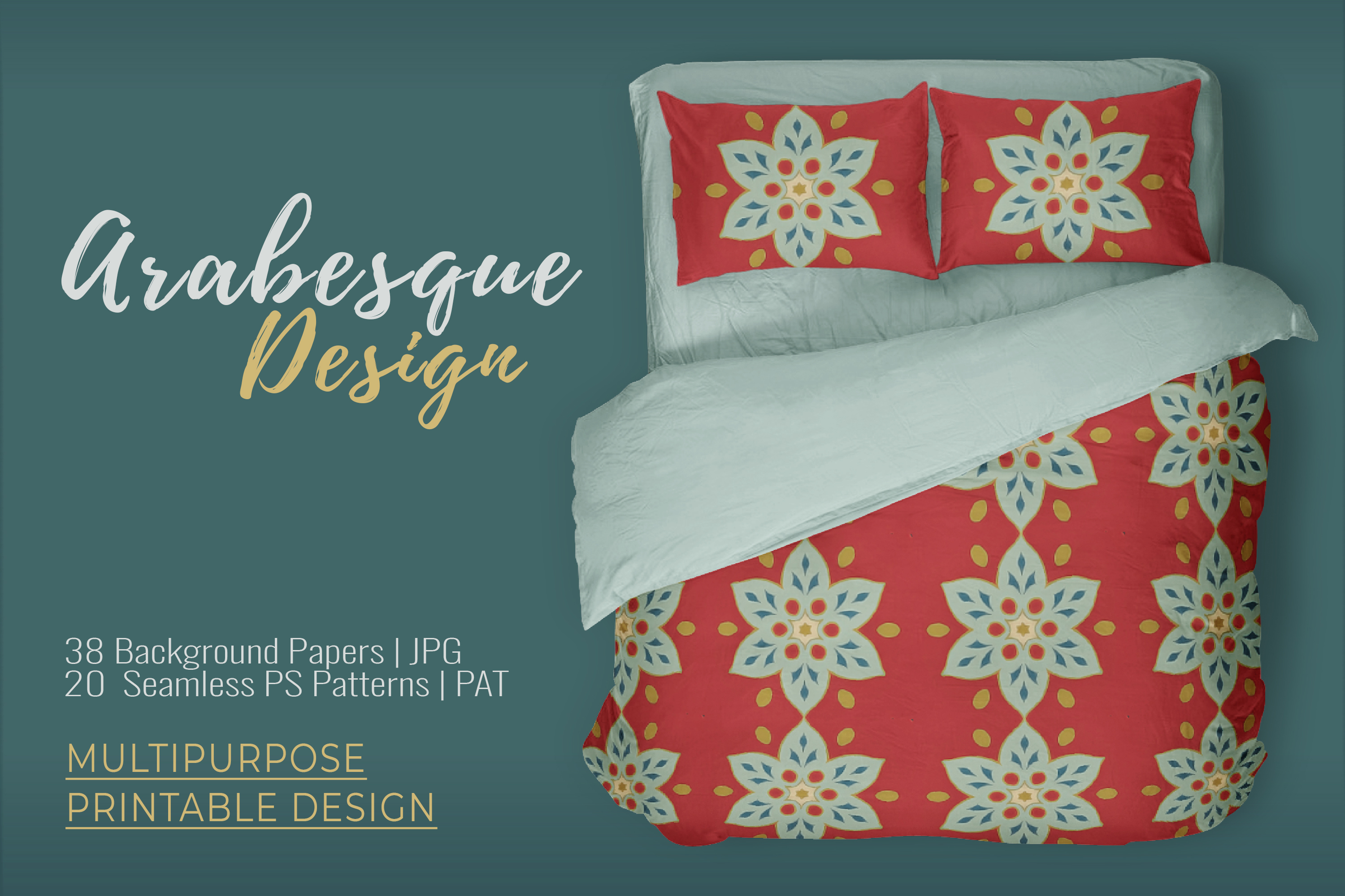 38 Arabesque Papers JPG & 20 Seamless Tiles PS Patterns PAT example image 2