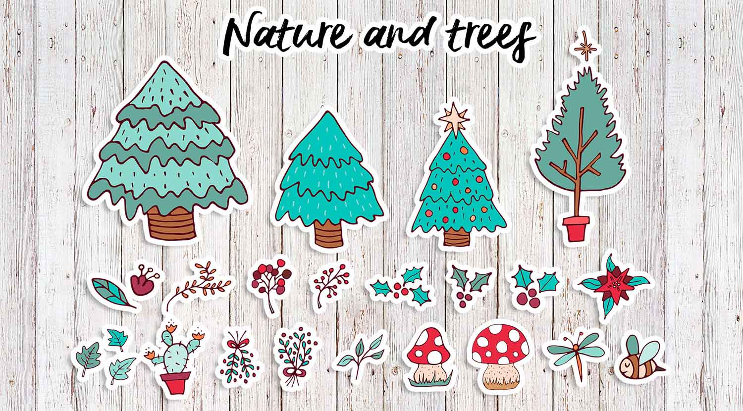 Sweet Christmas: hand drawn set with cute animals example image 5