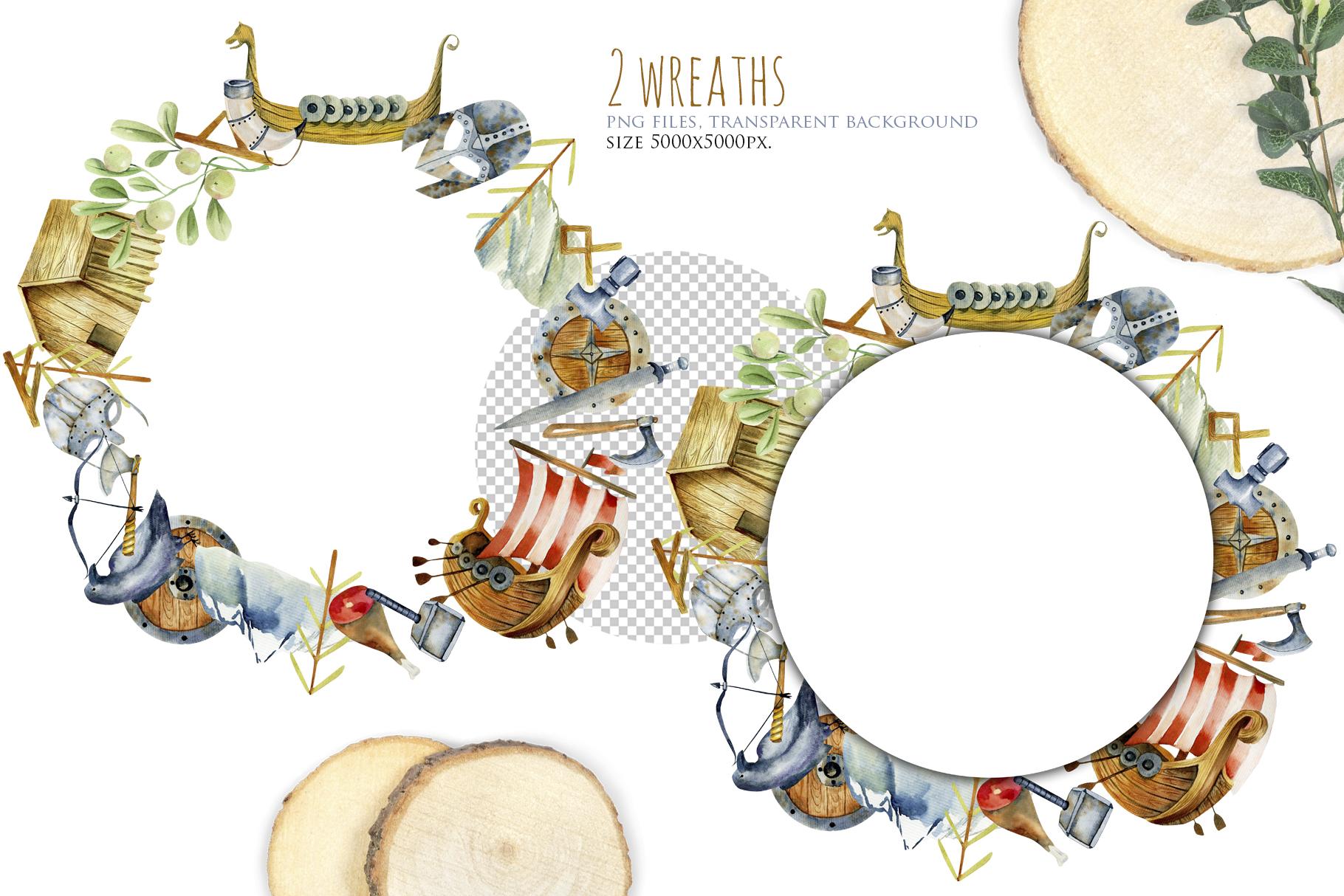 Vikings. Watercolor clip art. example image 8