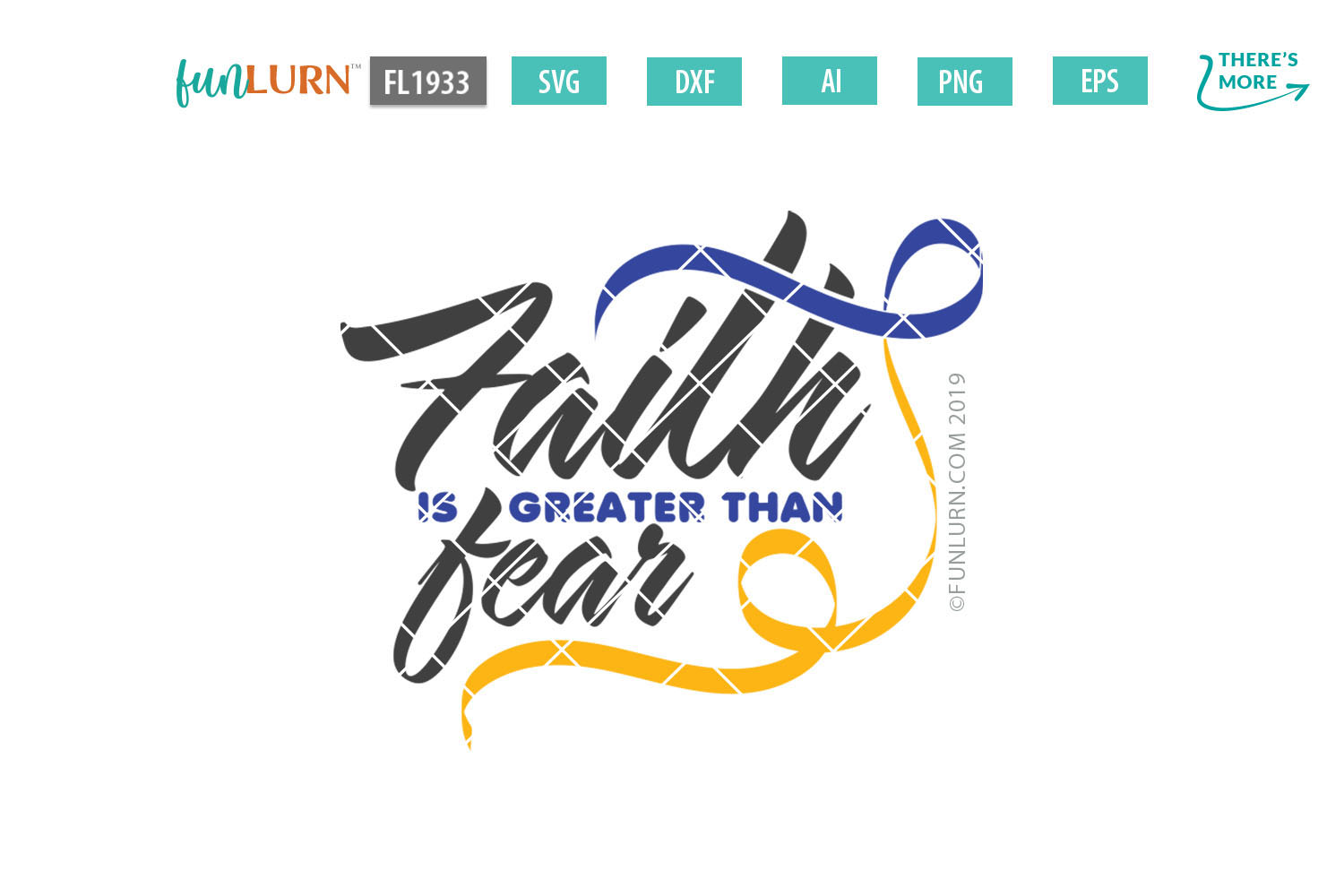Faith is Greater Than Fear Purple Blue Yellow Ribbon SVG example image 2