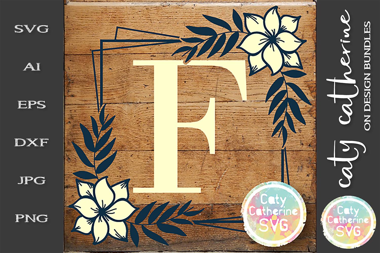 Letter F Floral Monogram Frame SVG Cut File example image 1