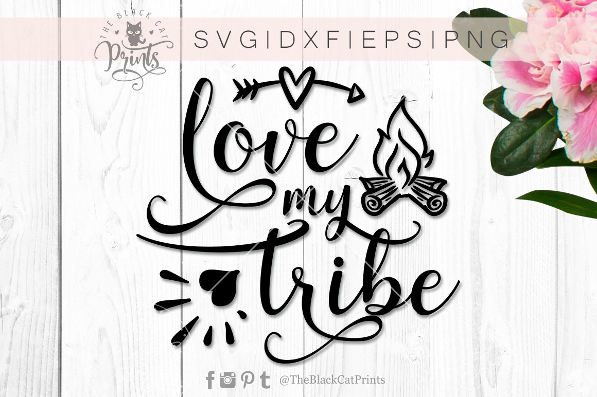 Love my tribe   heart, arrow & fireplace SVG PNG EPS DXF example image 3