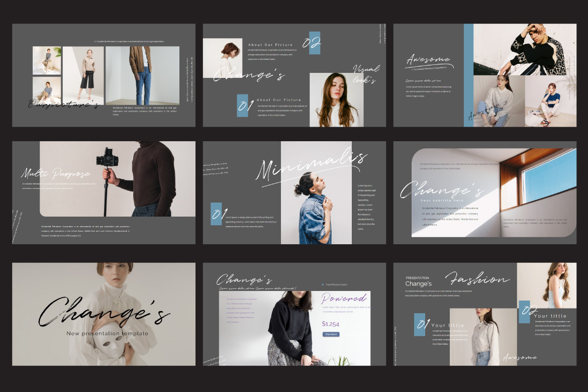 Change's - Fashion Google Slides Dark example image 3