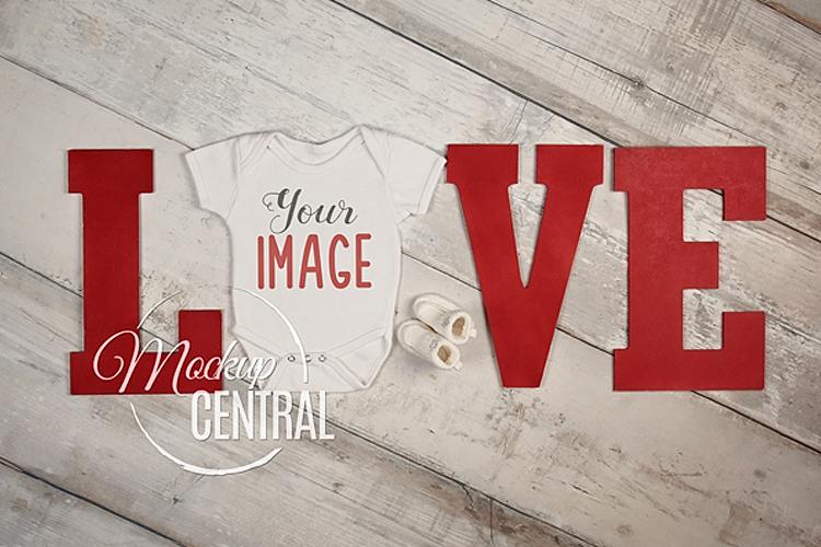 Baby Blank White Onepiece Bodysuit LOVE Mockup, JPG File example image 1