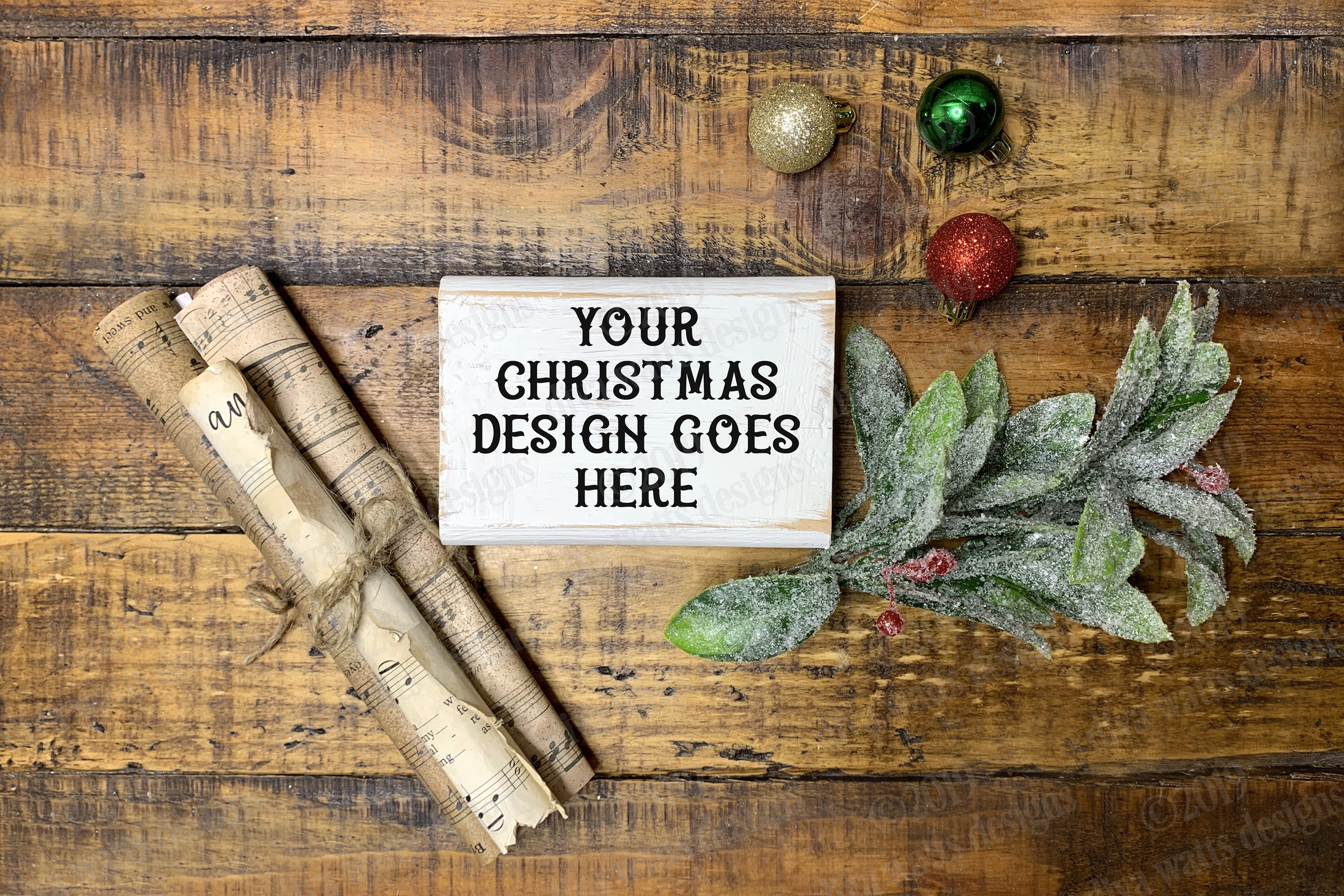 Christmas Tiered Tray Mockup Set with Flat Lay Included example image 2