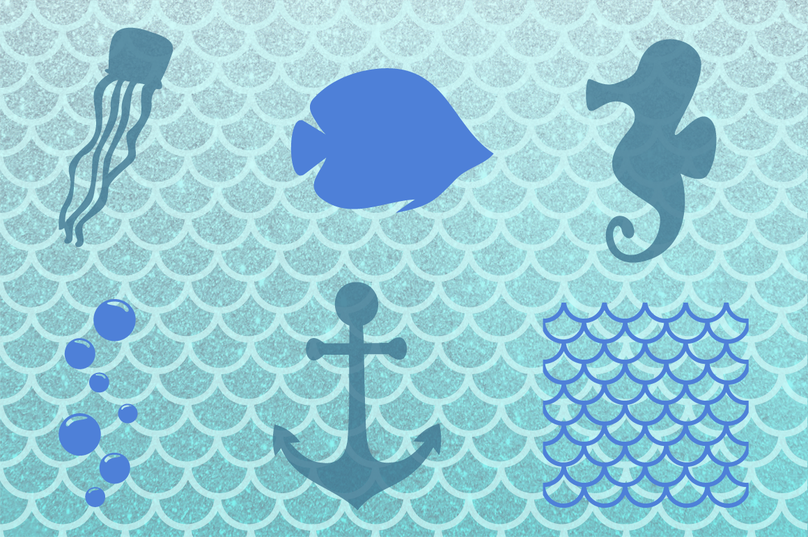 Mermaid Silhouettes | Mermaid Monograms SVG Cut Files example image 4