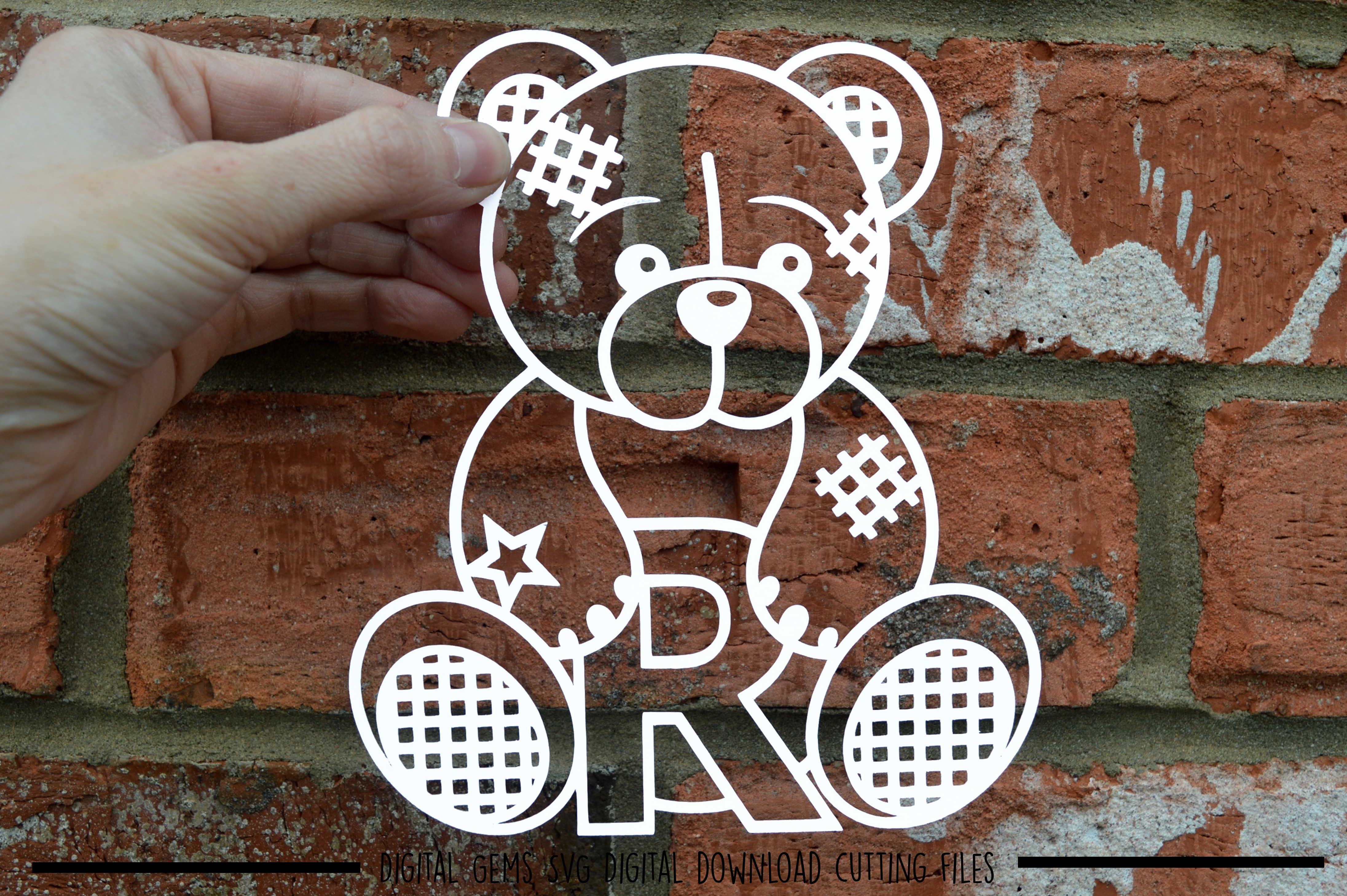 Alphabet teddy bear paper cuts SVG / DXF / EPS files example image 19
