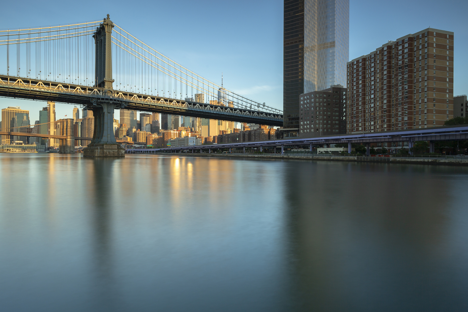Financial district with two bridges from east river example image 1