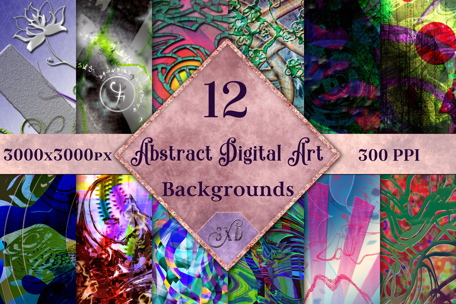Abstract Digital Art Backgrounds - 12 Image Set example image 1