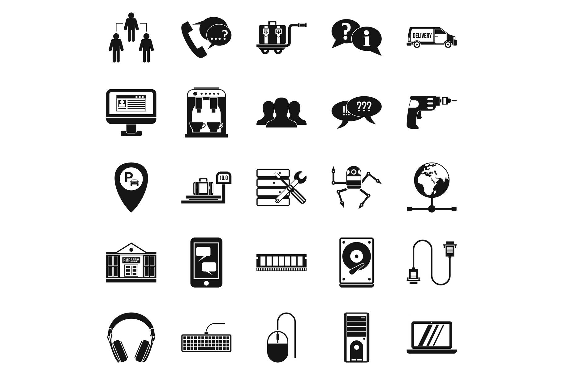 Headset icons set, simple style example image 1