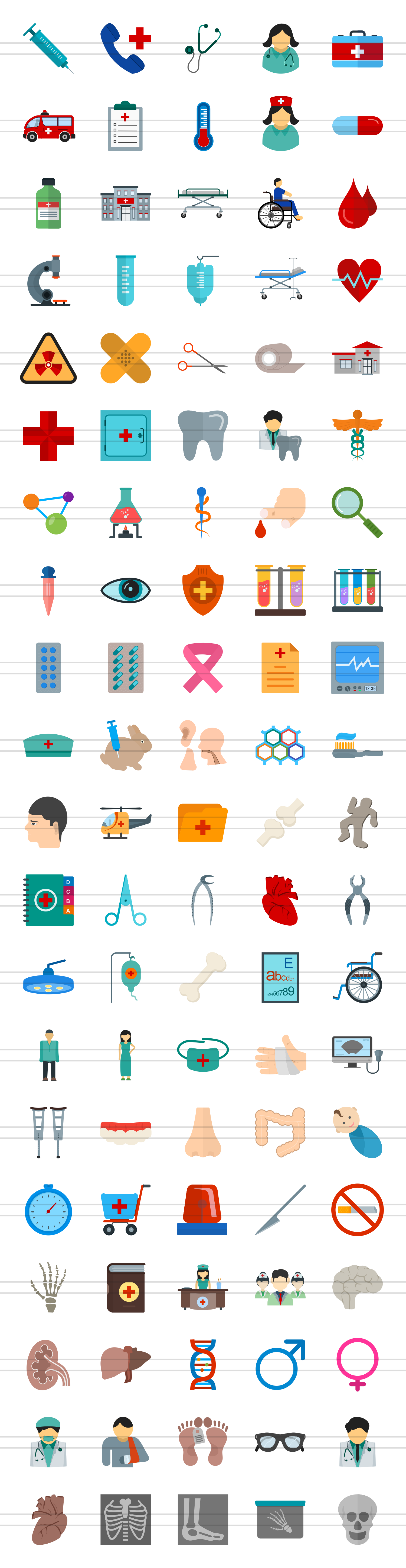 100 Medical General Flat Icons example image 2