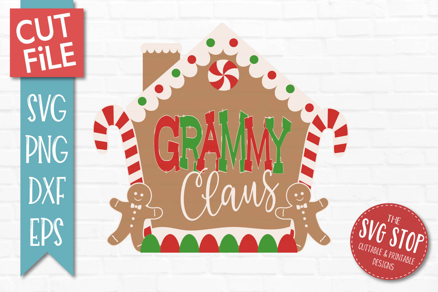 Grammy Claus Gingerbread Christmas SVG, PNG, DXF, EPS example image 1