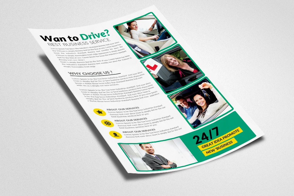Learn Driving School Flyers Template example image 2