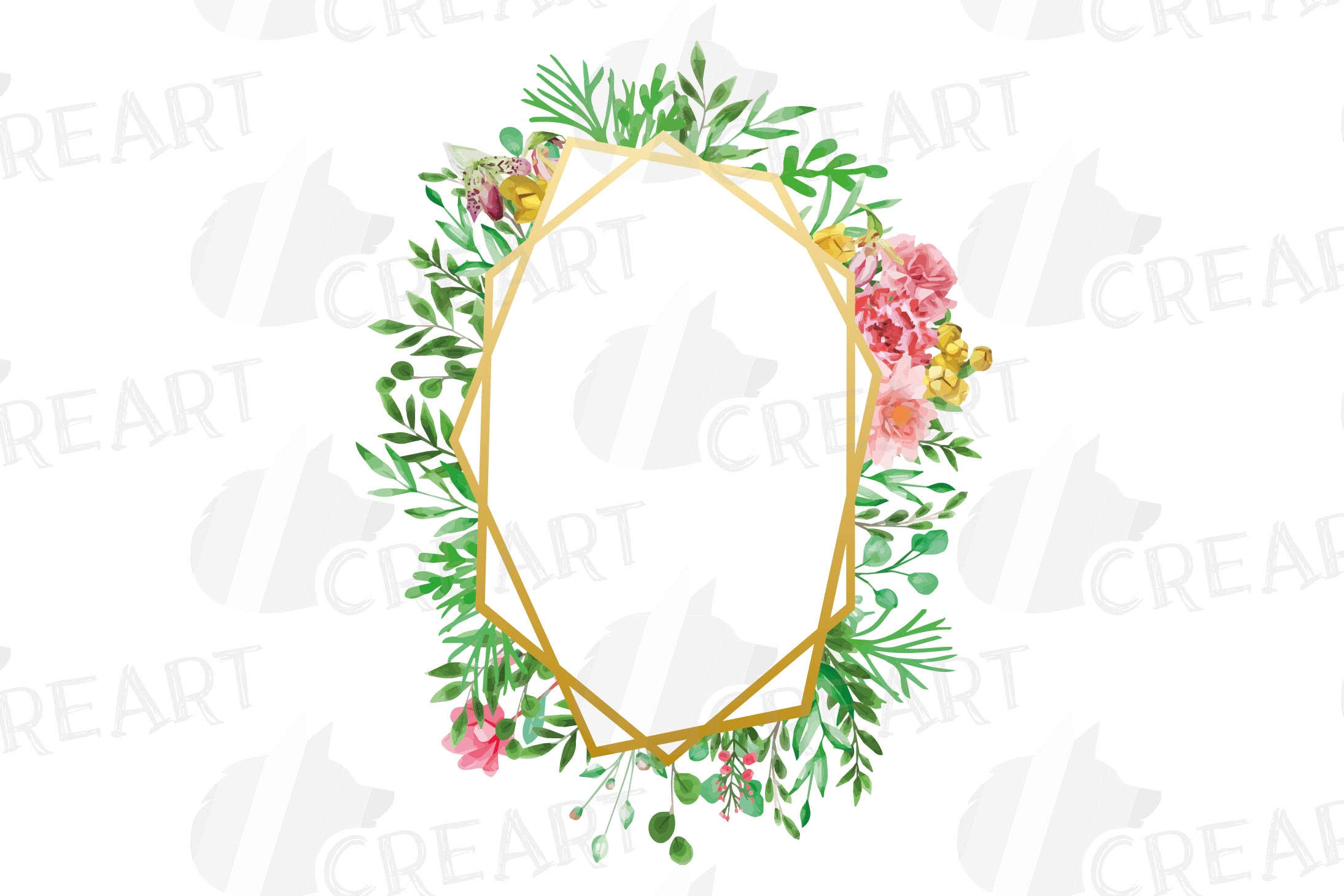 Watercolor floral floral frames and borders clip art pack example image 8