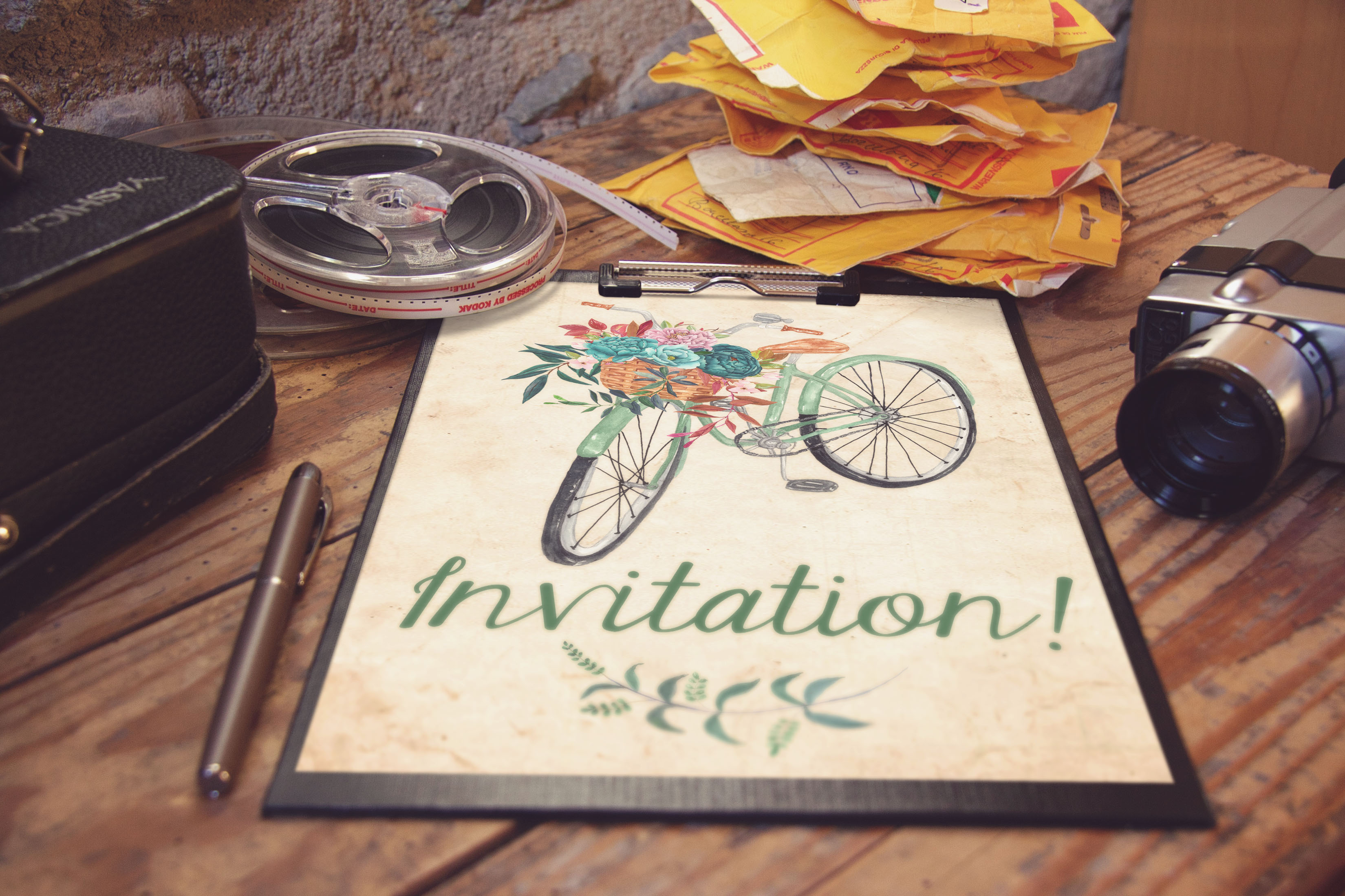 Watercolor floral bicycle clipart example image 4