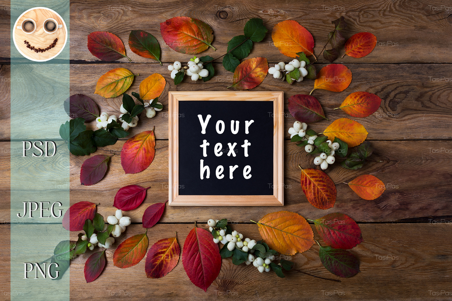 Wooden square picture frame mockup with fall leaves example image 1