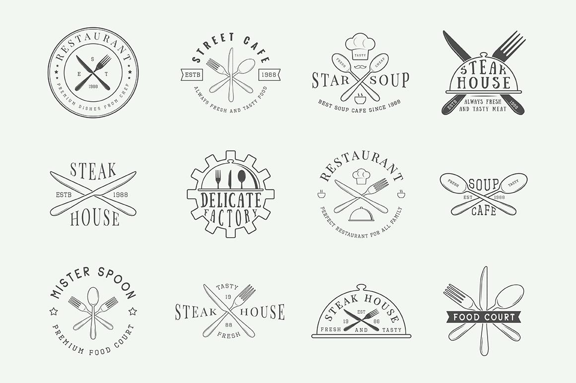 Vintage Restaurant Emblems Bundle example image 6