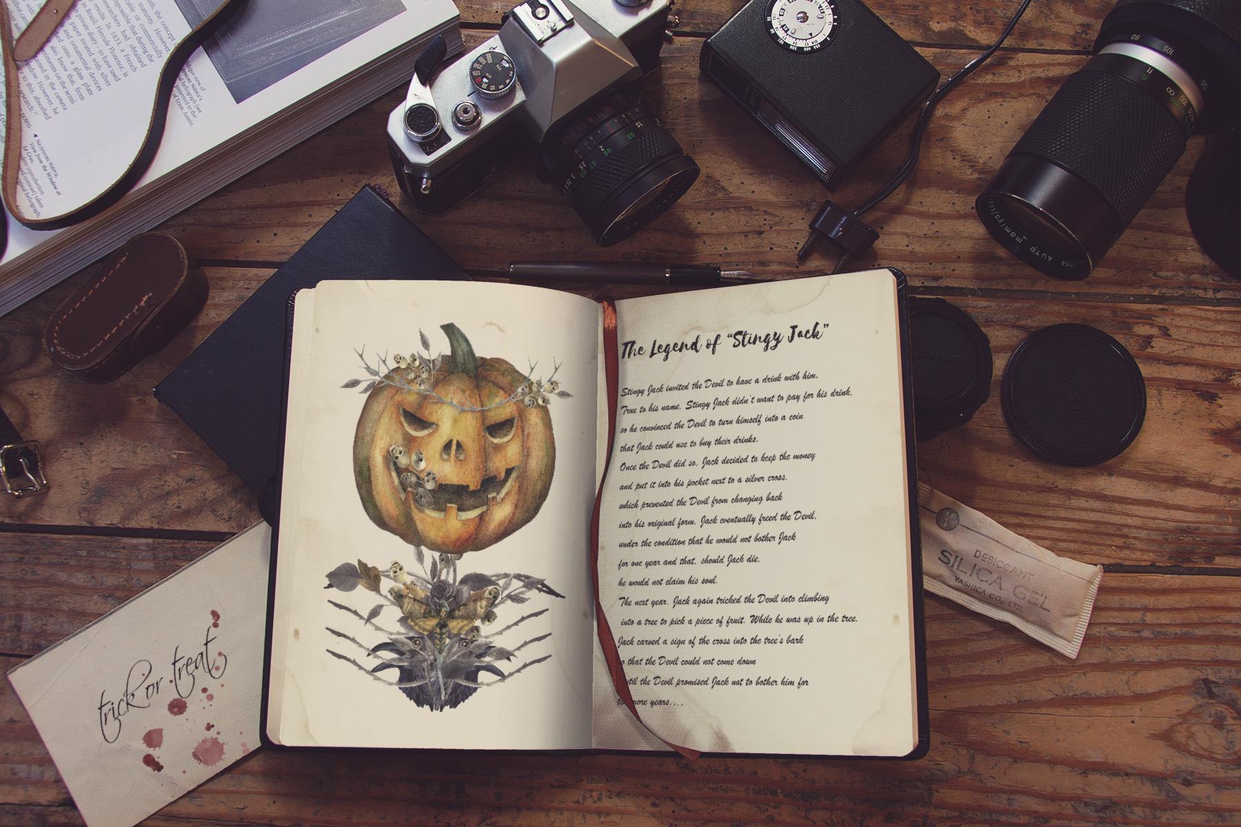 Halloween watercolor pack, Jack o Lantern pumpkin, wreath example image 12