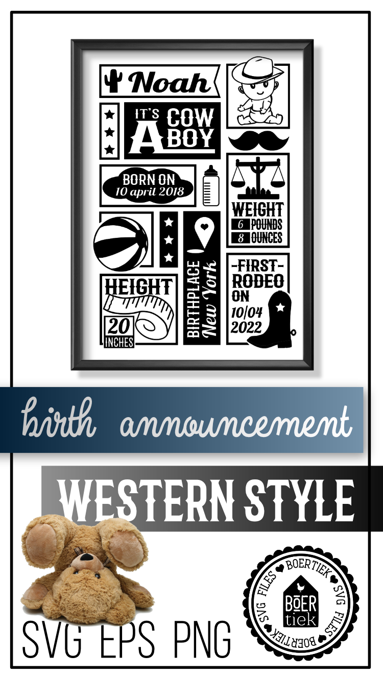 Cowboy birth announcement, baby birth stats template, SVG example image 3
