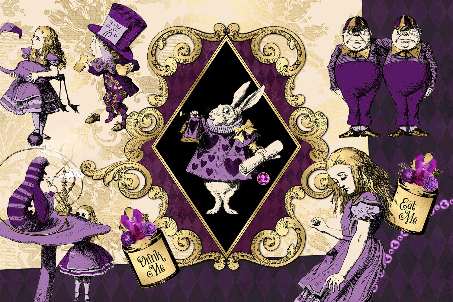 Purple and Gold Alice in Wonderland Graphics example image 2