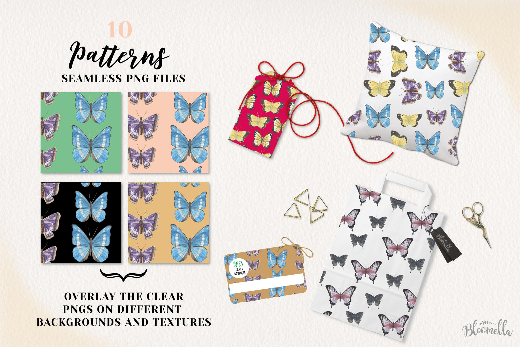 Butterfly Seamless Patterns Digital Papers Butterflies example image 3