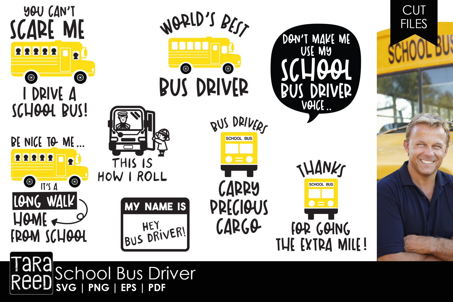 School Bus Driver SVG and Cut Files for Crafters example image 1