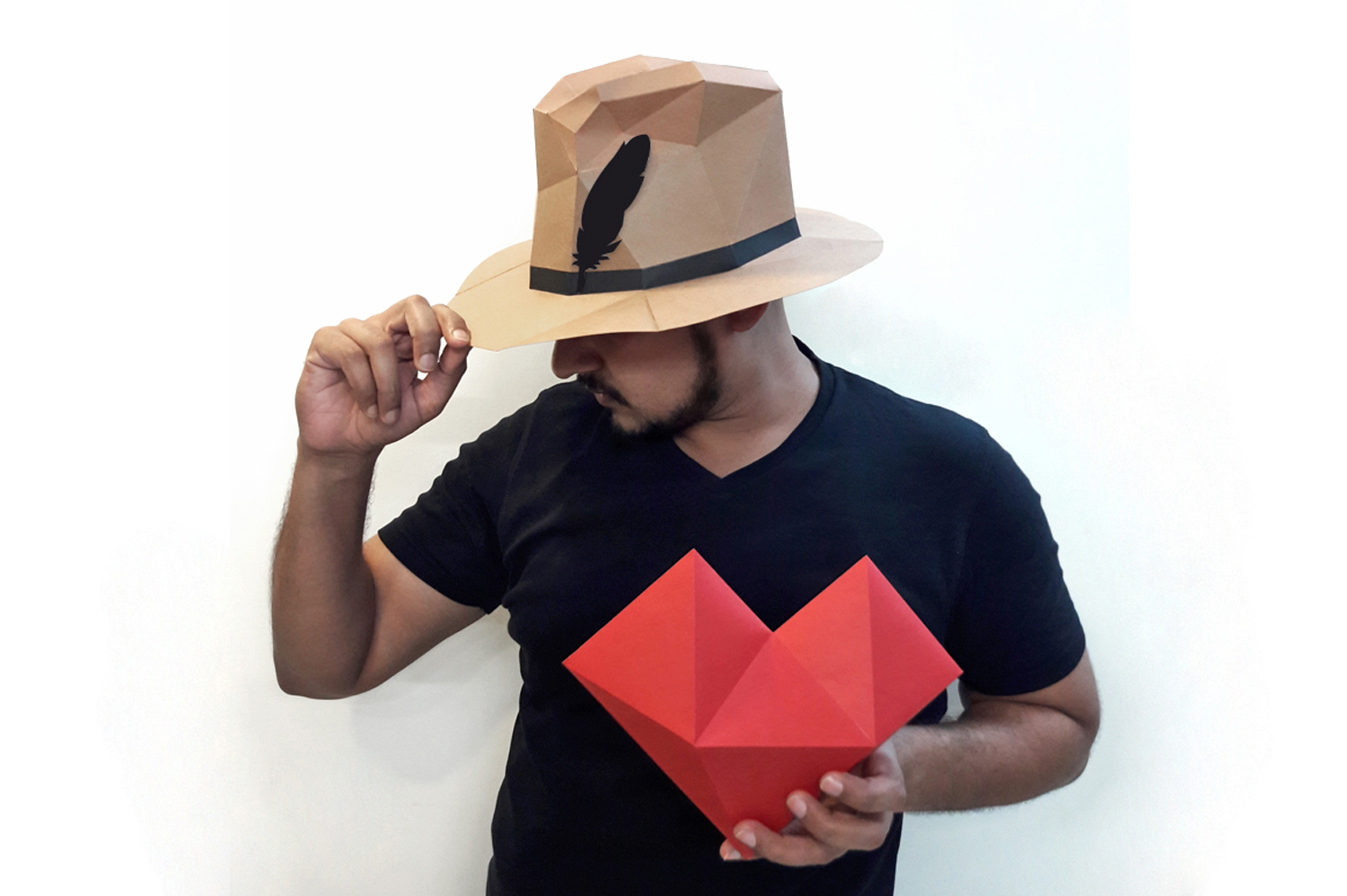 DIY Paper hat & heart - 3d papercraft example image 3