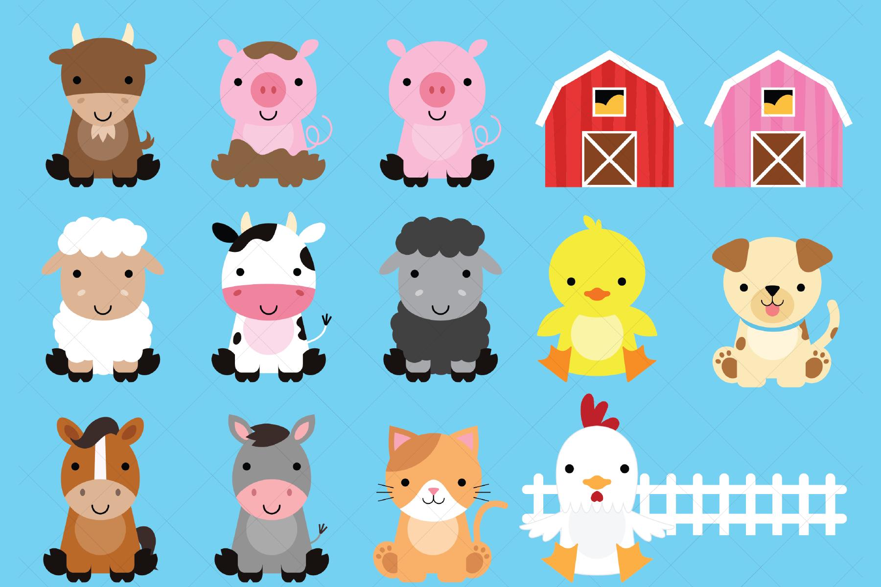 Farm Animals Clipart (385338) | Illustrations | Design Bundles