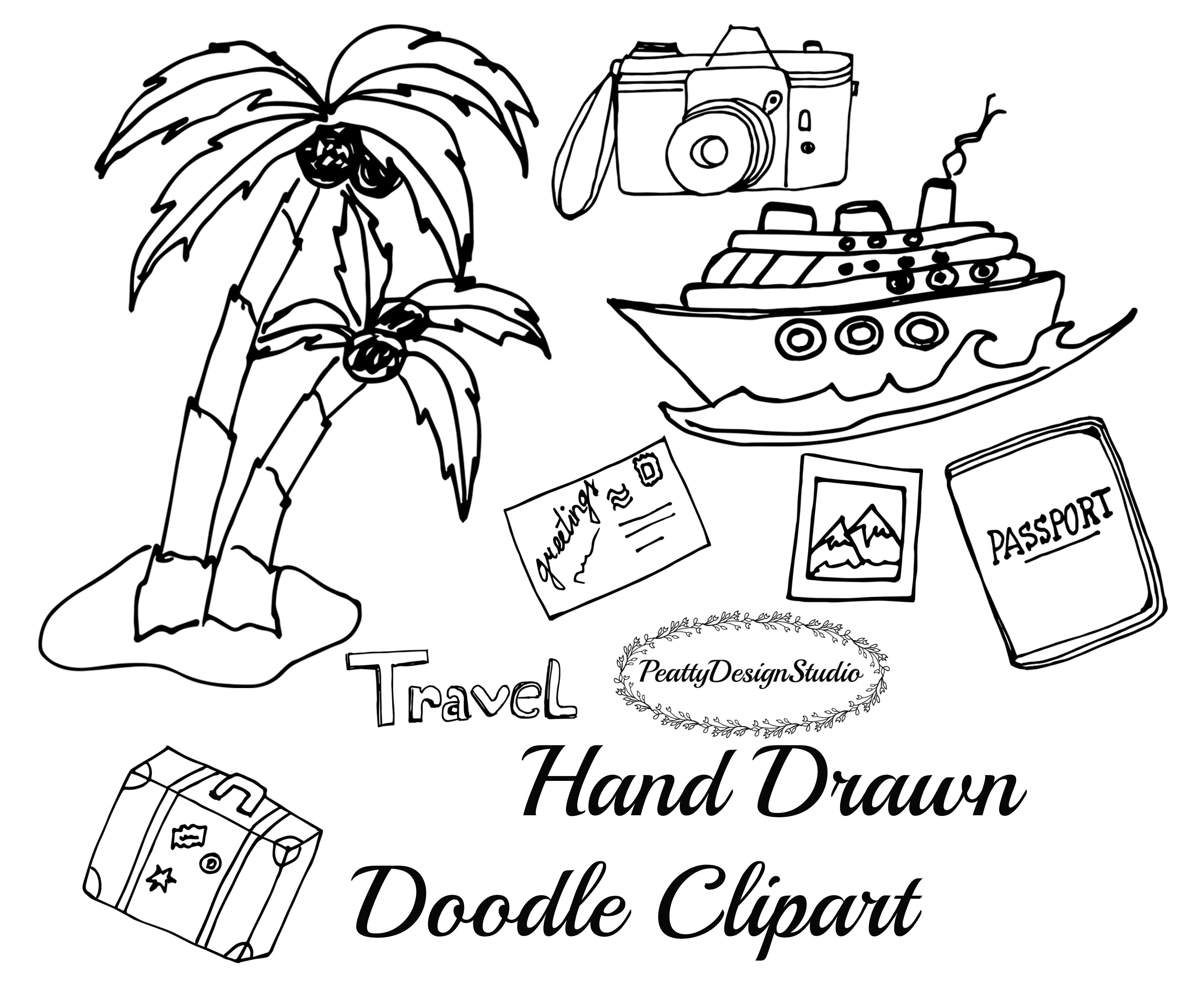Doodle Travel Clipart Example Image 3