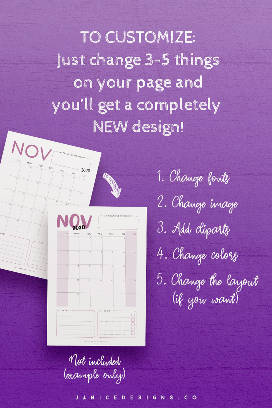 2020 Calendar InDesign Template for Commercial Use example image 6