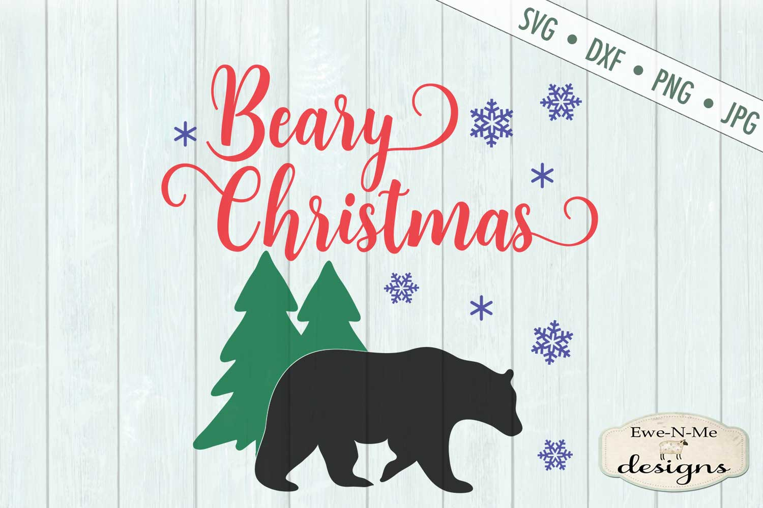 Beary Christmas - Bear - Snowflake - Winter - SVG example image 2