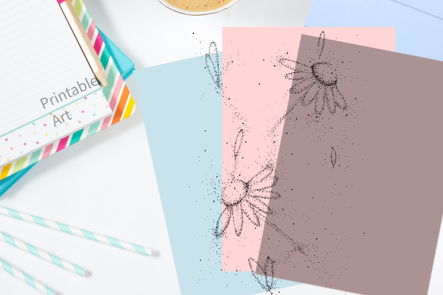 Doodle Flowers Art, A1, SVG example image 4