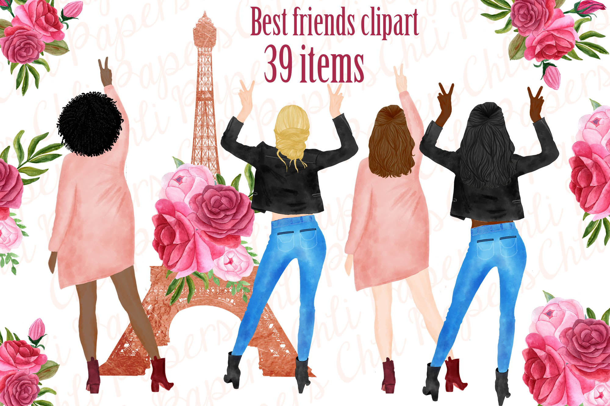Best Friends Clipart, Paris clipart, Eiffel Tower clipart example image 1