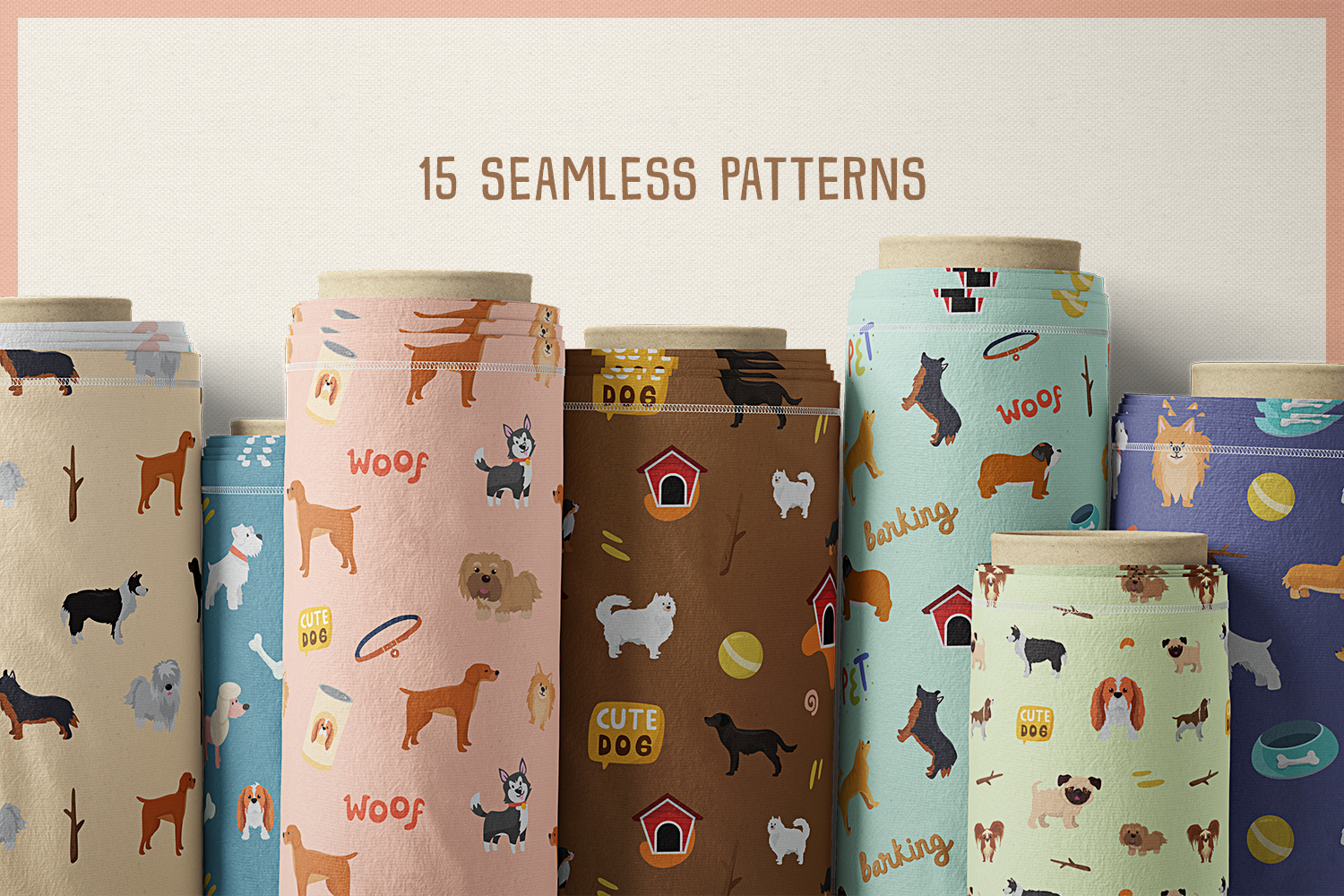 Cute Dog Vol.02 Vector Clipart and Seamless Pattern example image 6