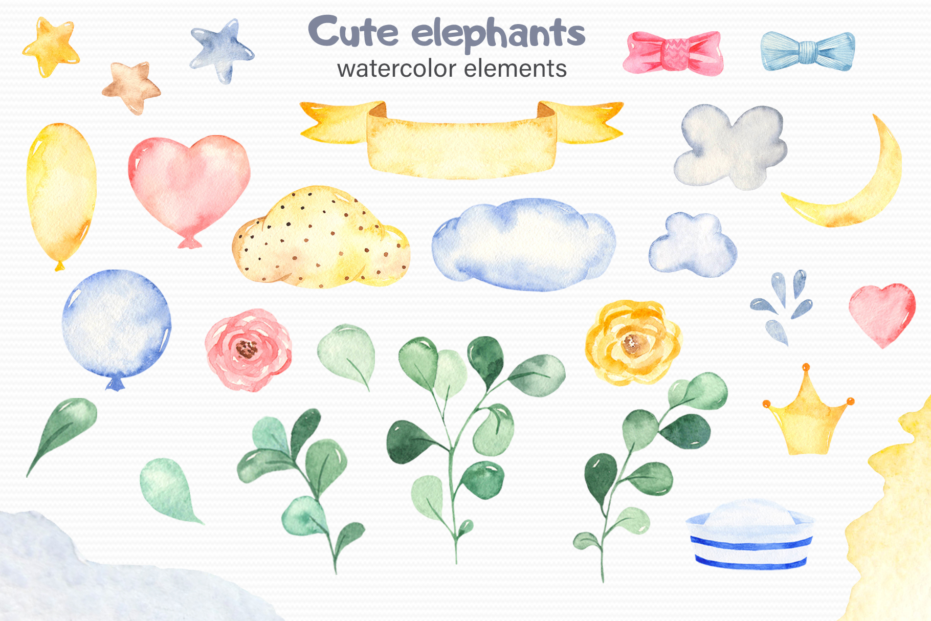 Cute elephants watercolor collection clipart example image 11