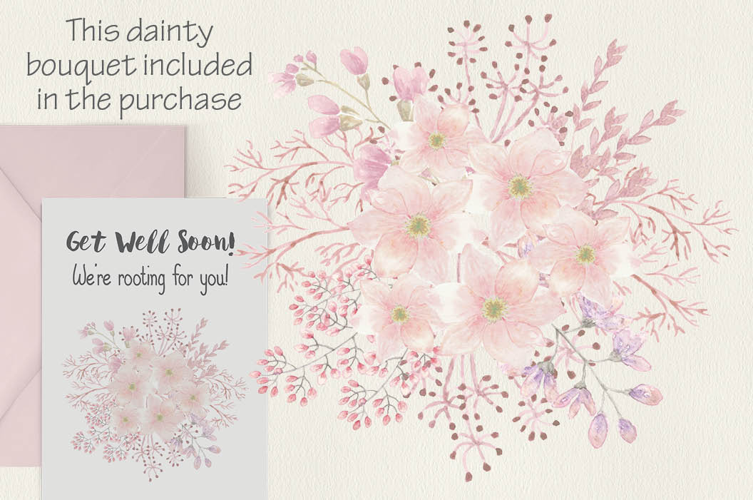 Watercolor wreath of blush Magnolias example image 3