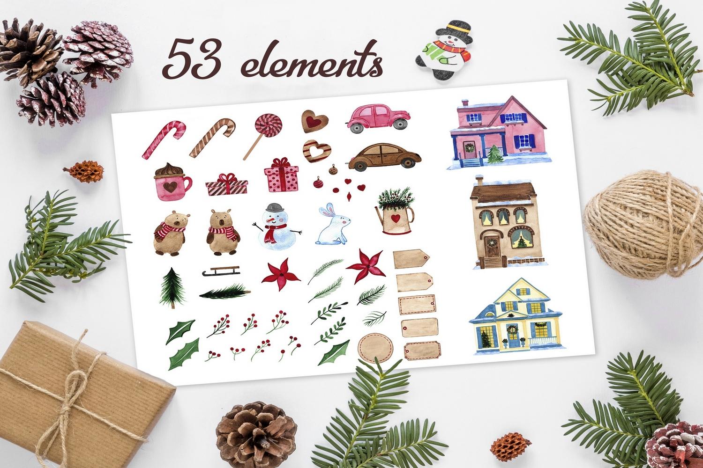 Happy Winter. Watercolor set example image 2