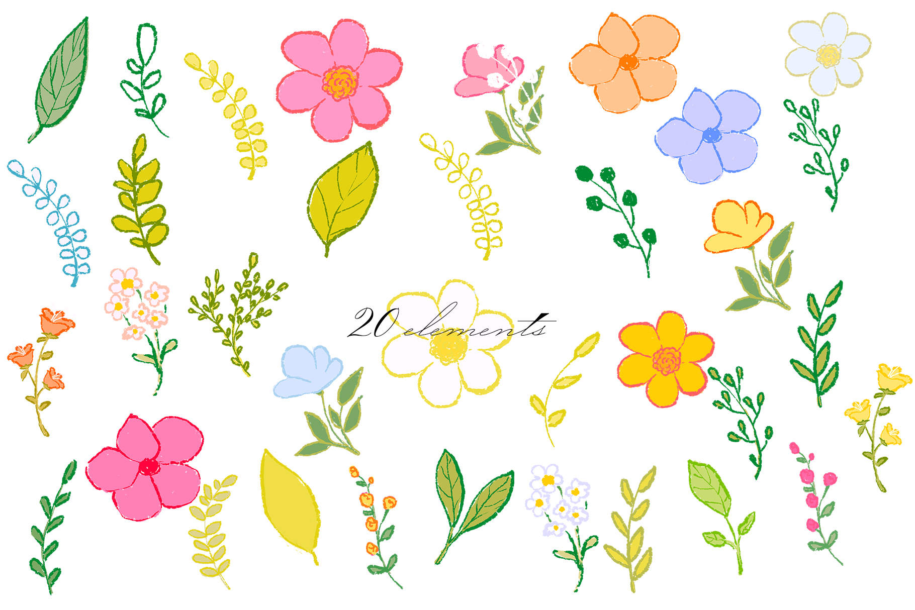 Hand draw colorful spring flowers example image 7
