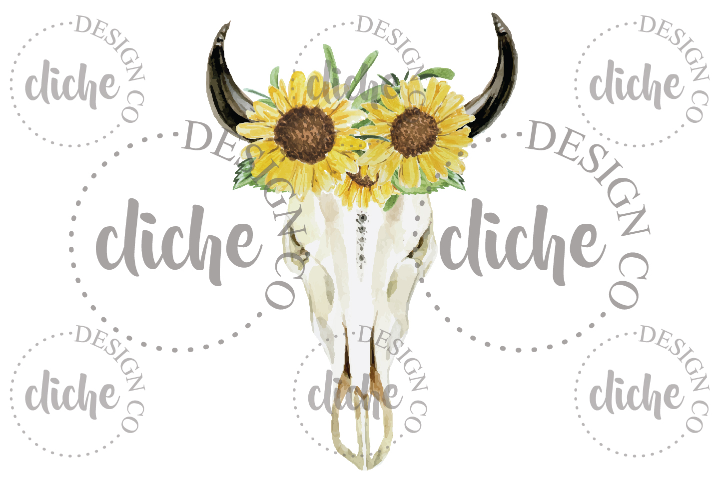 Rustic Sunflowers Floral Skull Sublimation Design example image 1