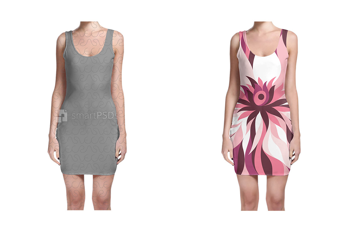Bodycon Dress Design Mockup for Sublimation Preview - 2 Views example image 2
