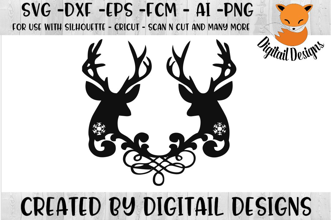 Snowflake Reindeer SVG for Silhouette, Cricut example image 1