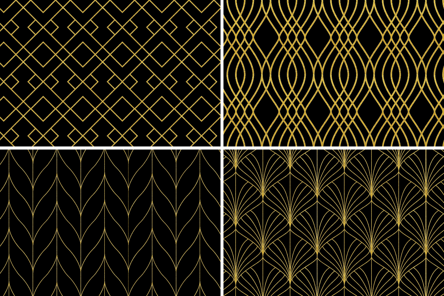 8 Seamless Art Deco Patterns - Black & Gold Set 1 example image 6