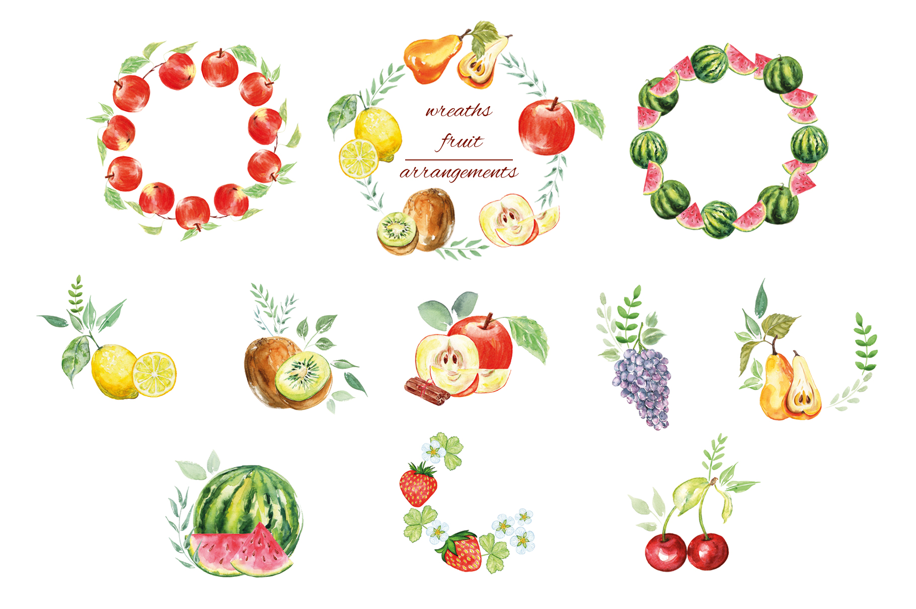 Fruits watercolor collection example image 9