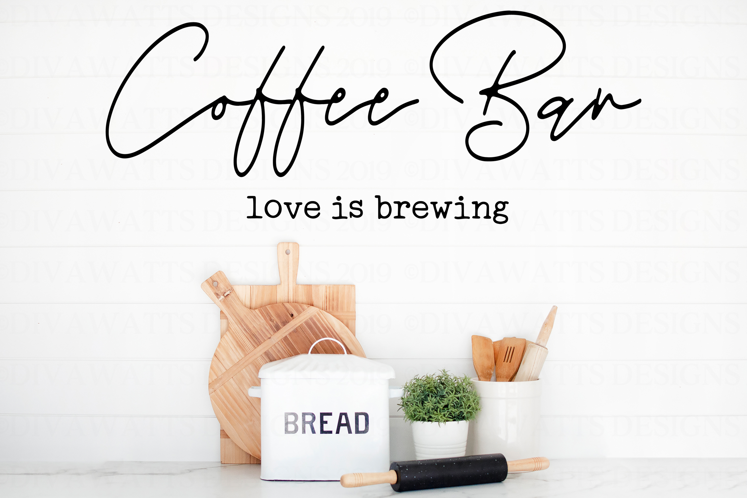 Coffee Bar Love Is Brewing - Kitchen Farmhouse Sign SVG example image 2