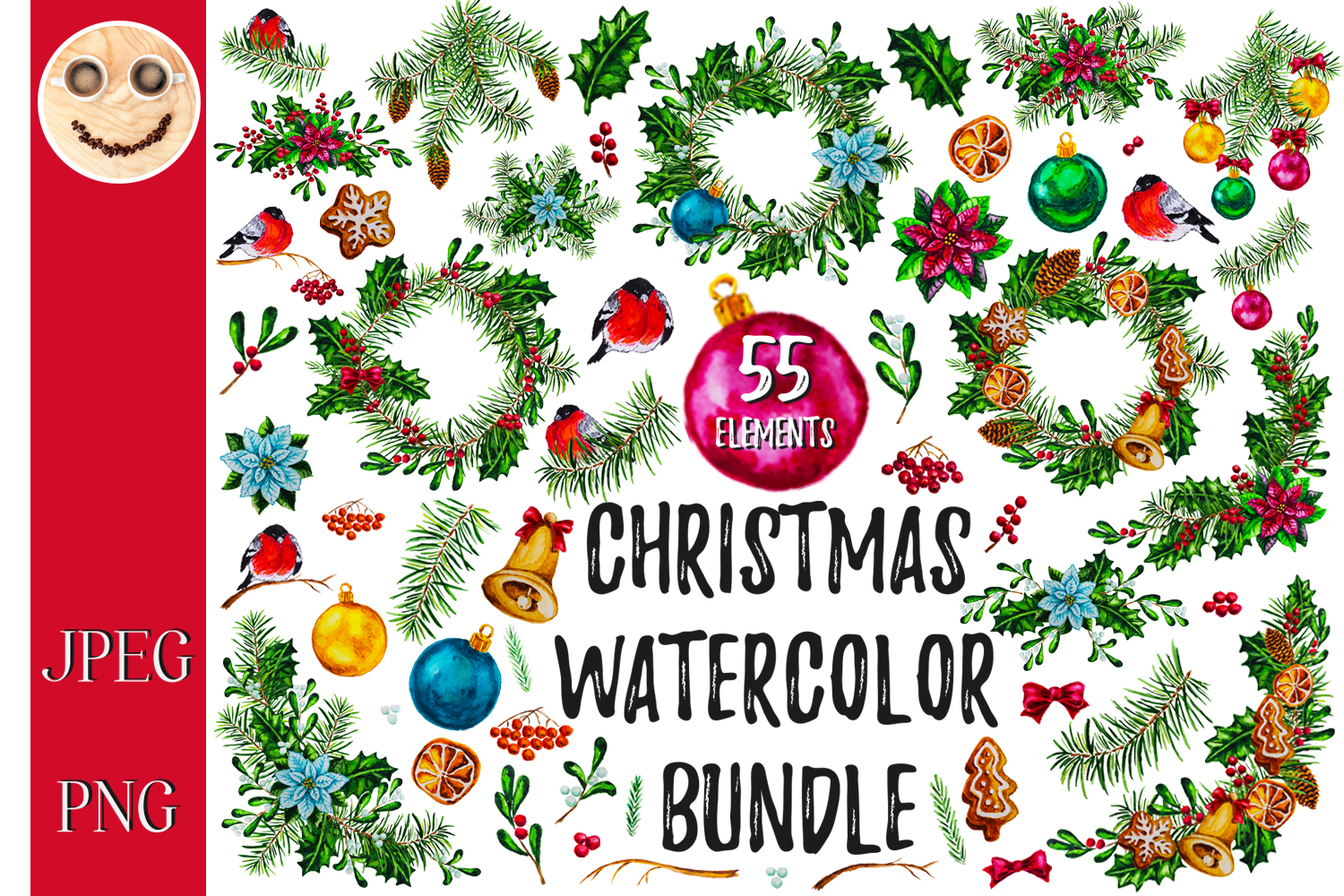 Christmas watercolor bundle example image 1