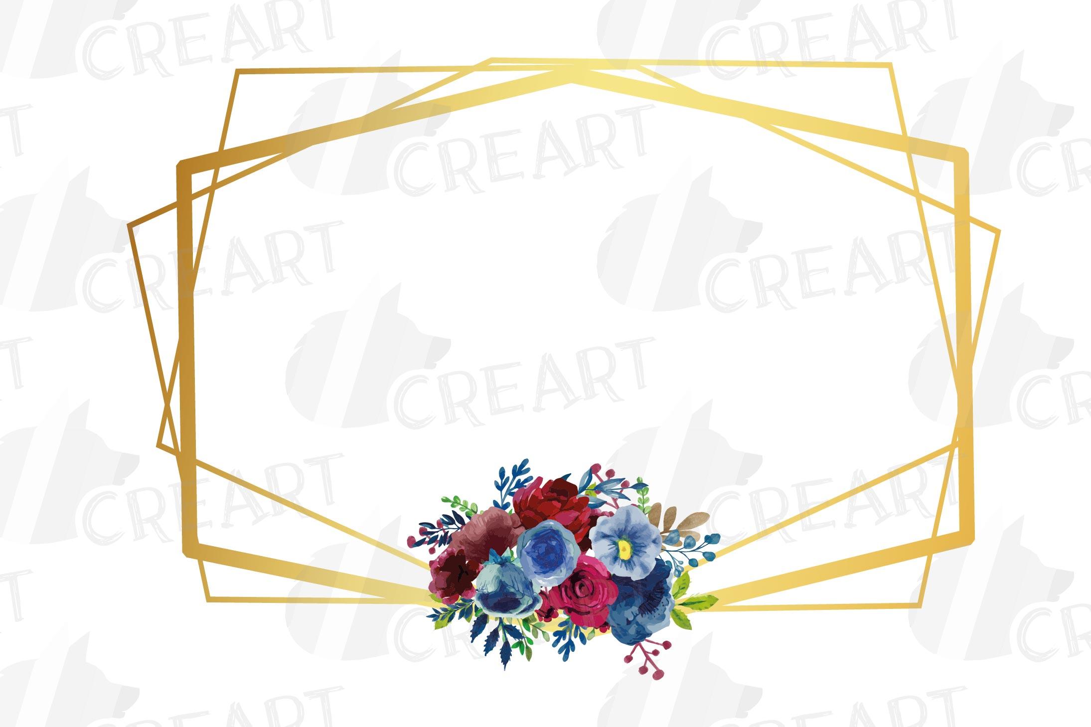 Watercolor elegant floral borders clip art. Wedding frames example image 6