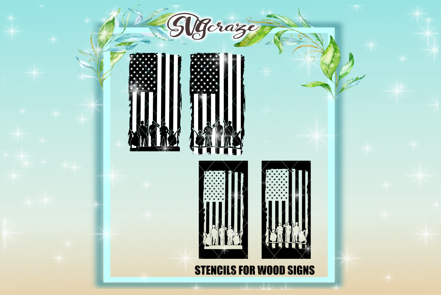 USA Soldiers Salute STENCILS INCLUDED SVG Dxf Eps Png PDF example image 1